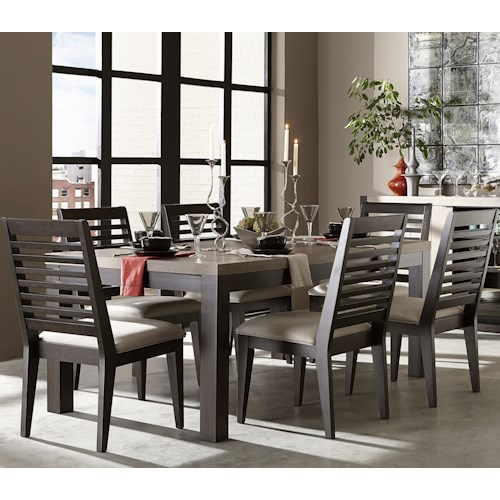 Legacy classic helix 7 piece dining set with slat back for Legacy classic dining room furniture