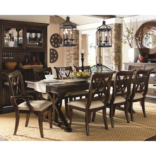 Legacy classic thatcher 9 piece dining set with x back for Legacy classic dining table