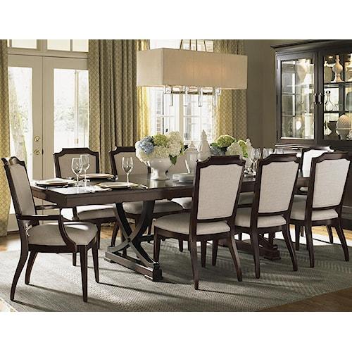 Lexington Kensington Place Eleven Piece Dining Set With Customizable Fabric Chairs Belfort