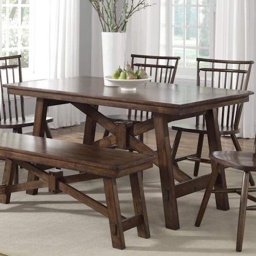 Liberty furniture creations ii rectangular trestle table for Dining room tables 38 inches wide