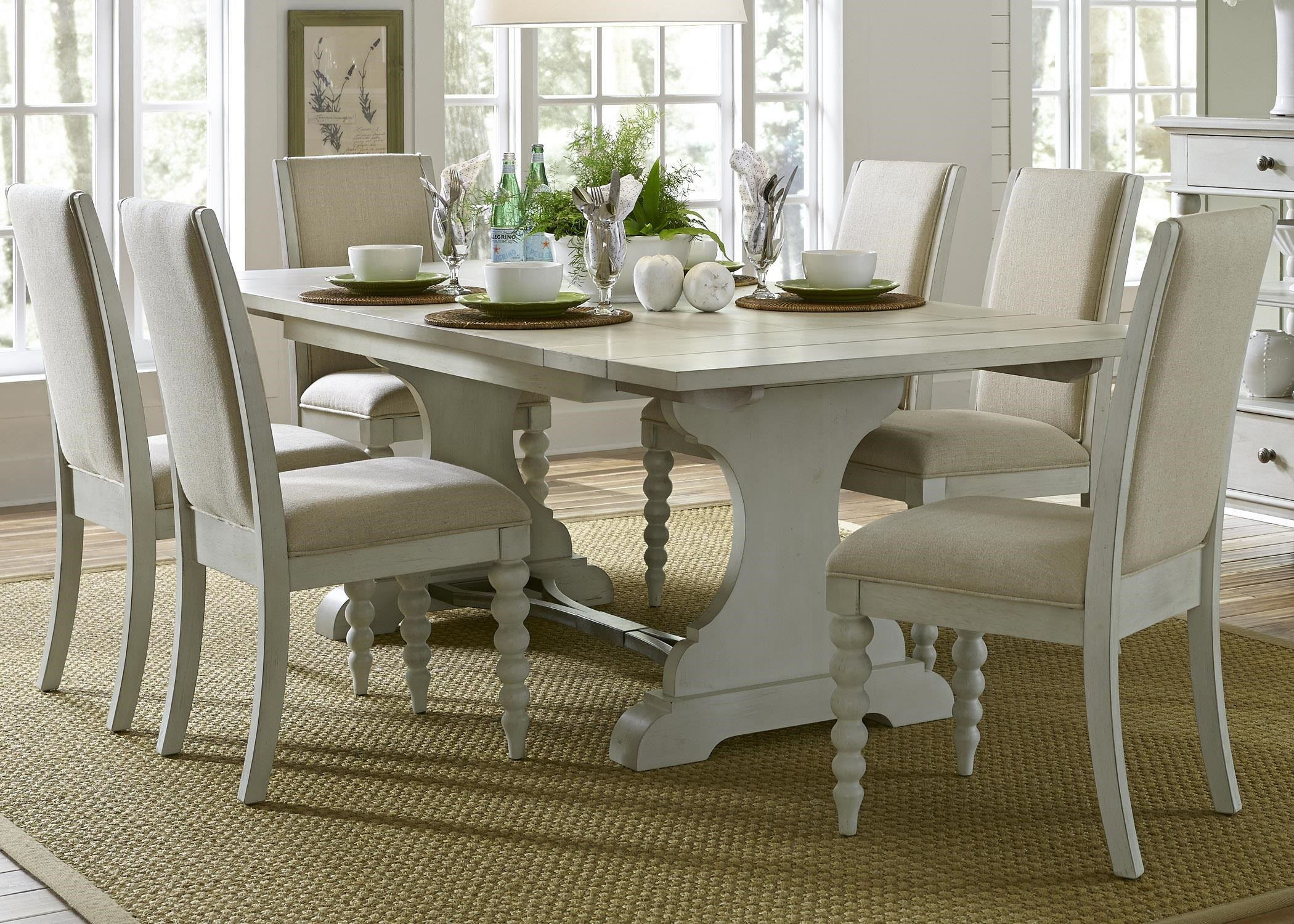 Liberty Furniture Harbor View Trestle Table with 6