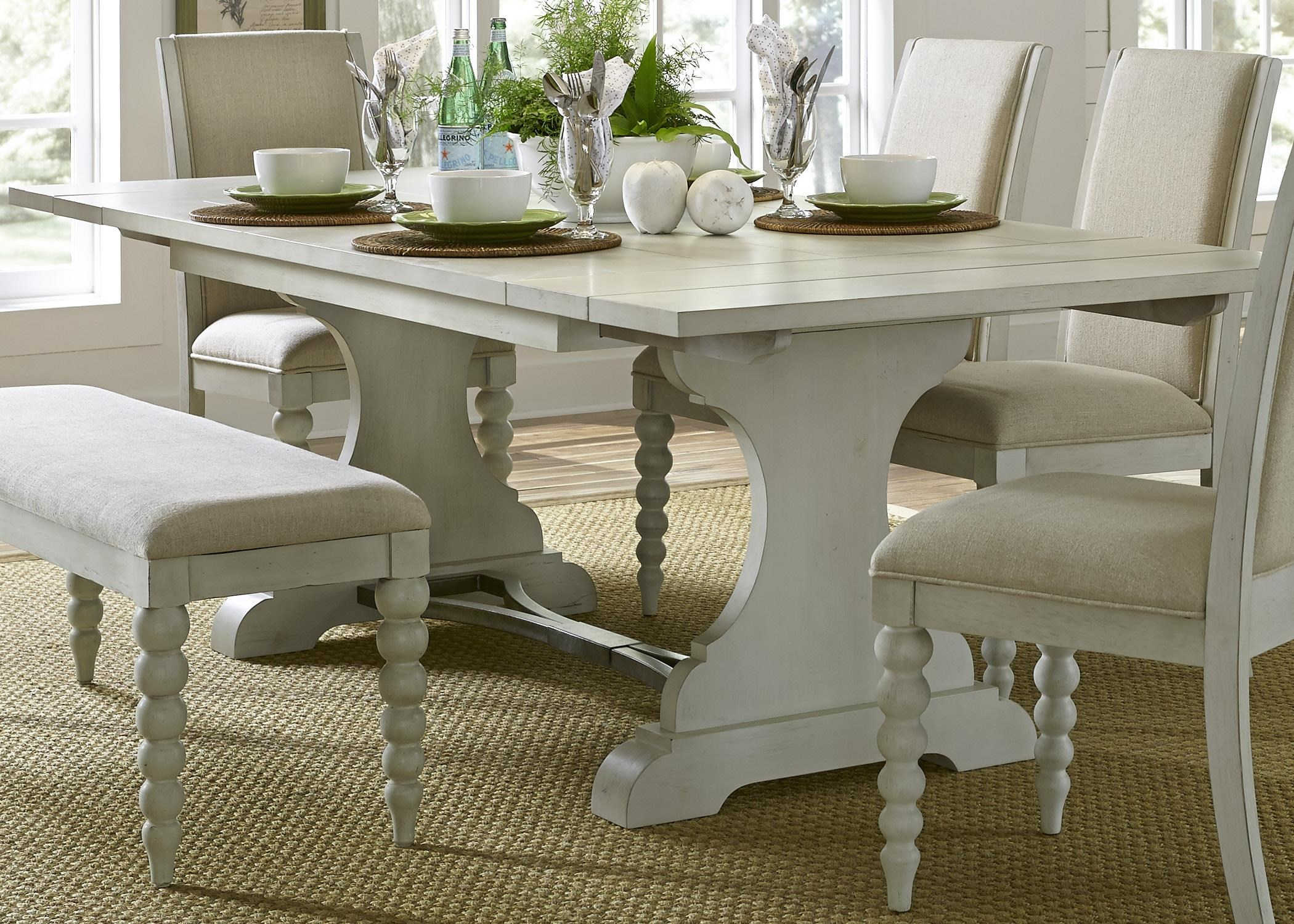 Liberty Furniture Harbor View Trestle Dining Table with 2