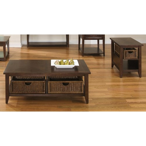 Liberty furniture lakewood basket coffee table and end for Furniture 0 down