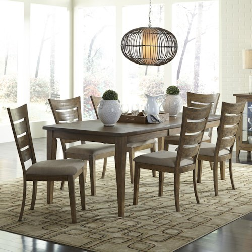 Vendor 5349 Pebble Creek 7 Piece Dining Set With Ladder Back Chairs Becker Furniture World
