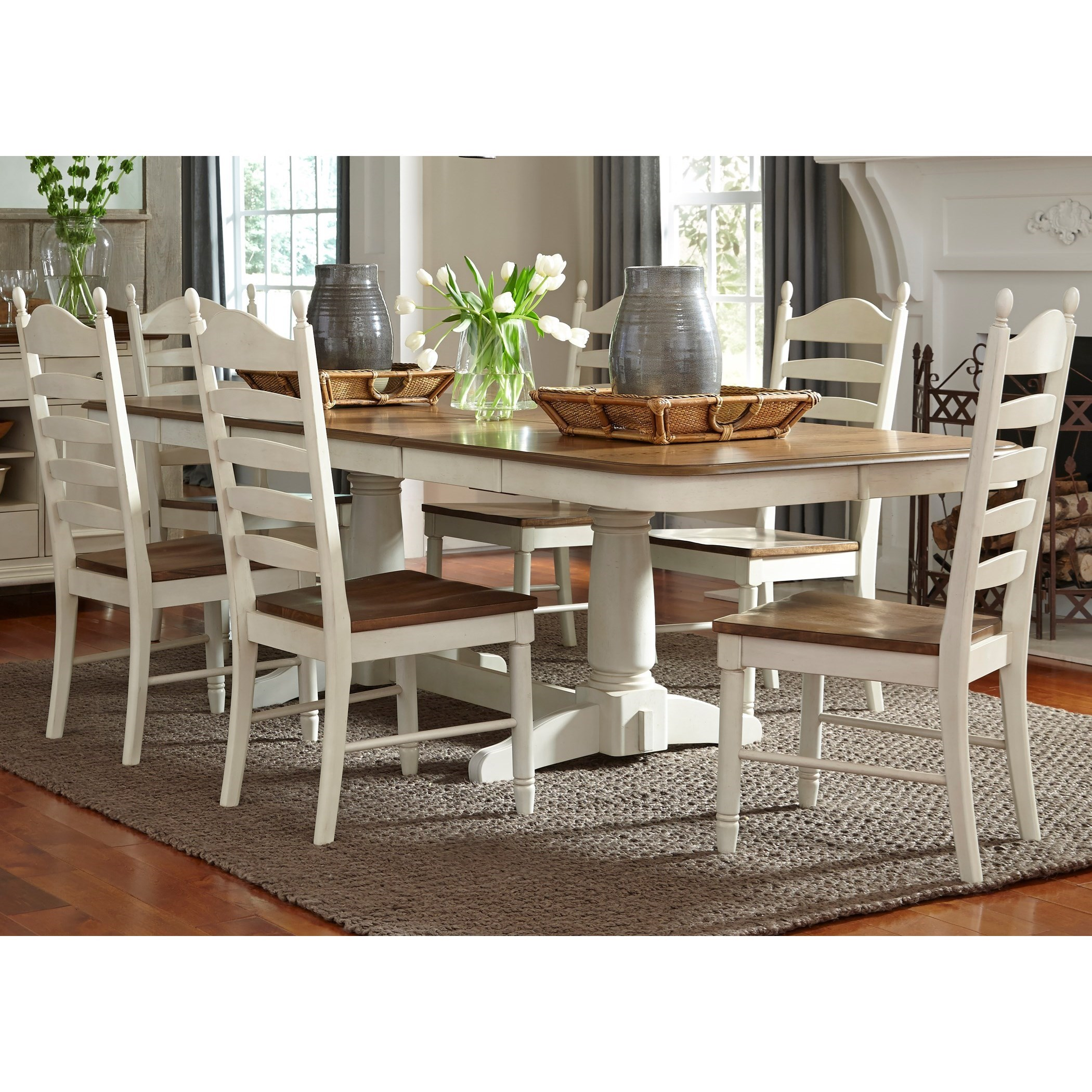 Springfield Dining 7 Piece Double Pedestal Table & Chair