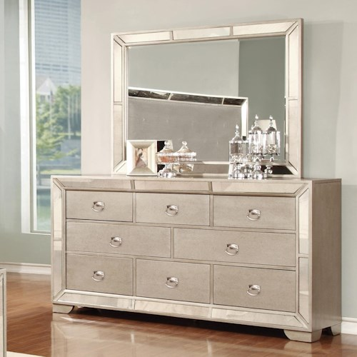 Lifestyle Glitzy 7 Drawer Dresser And Mirror Royal