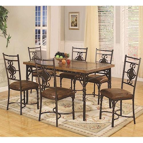 Lifestyle dc088 7 piece dining table set royal furniture for Dining sets nashville tn