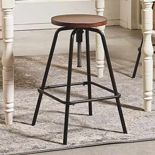 Magnolia home by joanna gaines accent elements round stool for Magnolia home furniture bar stools