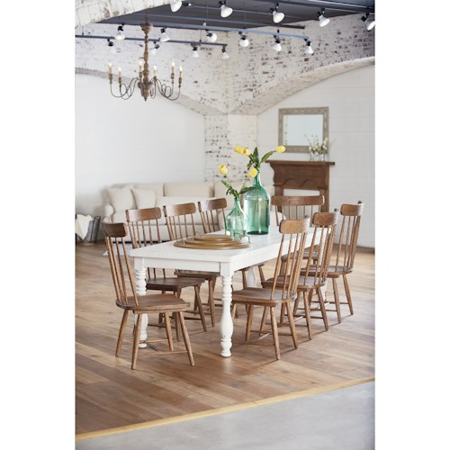 Magnolia home by joanna gaines farmhouse 9 piece dining set with spindle chairs and leg table Magnolia home furniture online