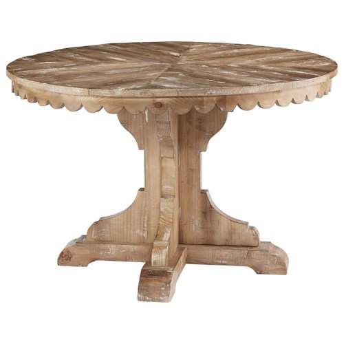 Magnolia home by joanna gaines farmhouse round pedestal for Magnolia dining table
