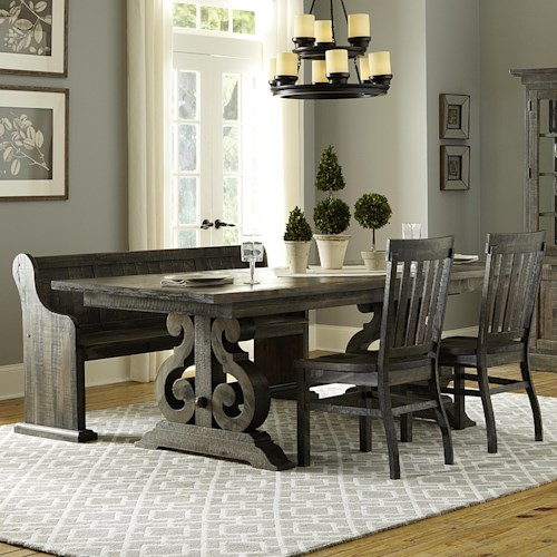 Dining Room Sets With Bench: Magnussen Home Bellamy Transitional Four Piece Weathered