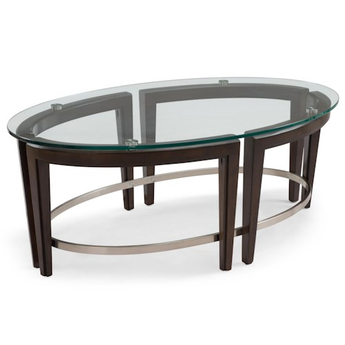 Magnussen home carmen contemporary wood and glass oval for Wood and glass cocktail tables