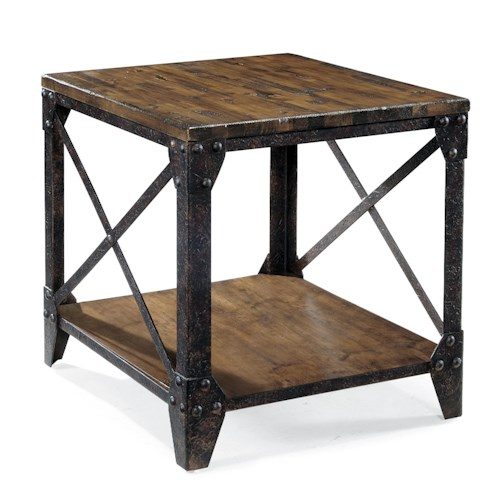 Magnussen home pinebrook rectangular end table with rustic for Rustic iron table legs