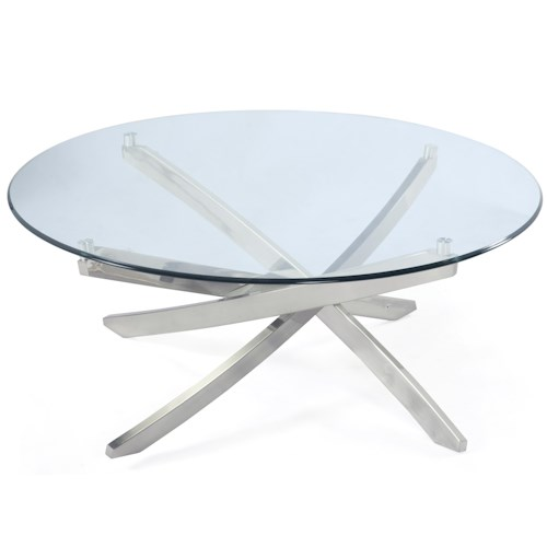 Magnussen Home Zila Round Cocktail Table With Strut Base