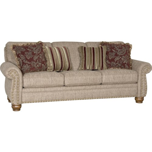 Mayo 9780 Traditional Stationary Sofa With Exposed Wood Spool Legs Knight Furniture Mattress