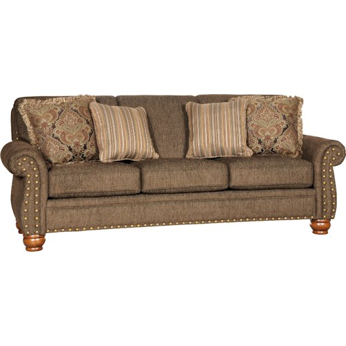 Mayo 9780 Traditional Stationary Sofa With Exposed Wood Spool Legs Olinde 39 S Furniture Sofa