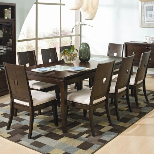 Najarian Spiga 9 Piece Cracked Glass Formal Table Upholstered Side Chai