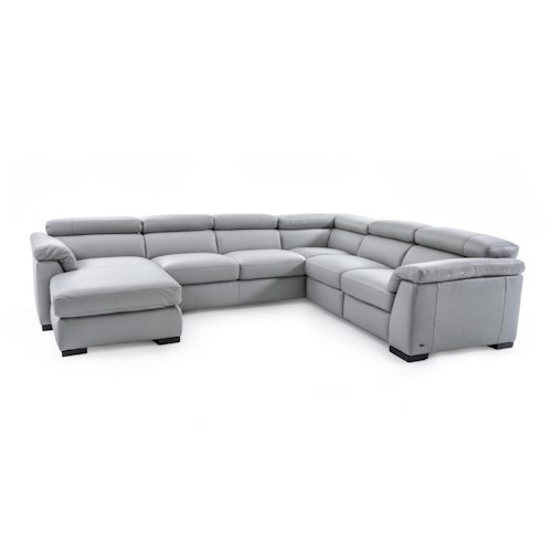 Natuzzi Editions B634 B634 Sect 1 Gray Sectional Sofa W