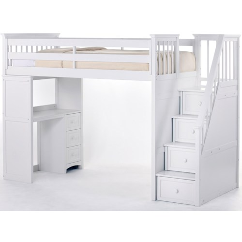 NE Kids School House Stair Loft Bed W Desk