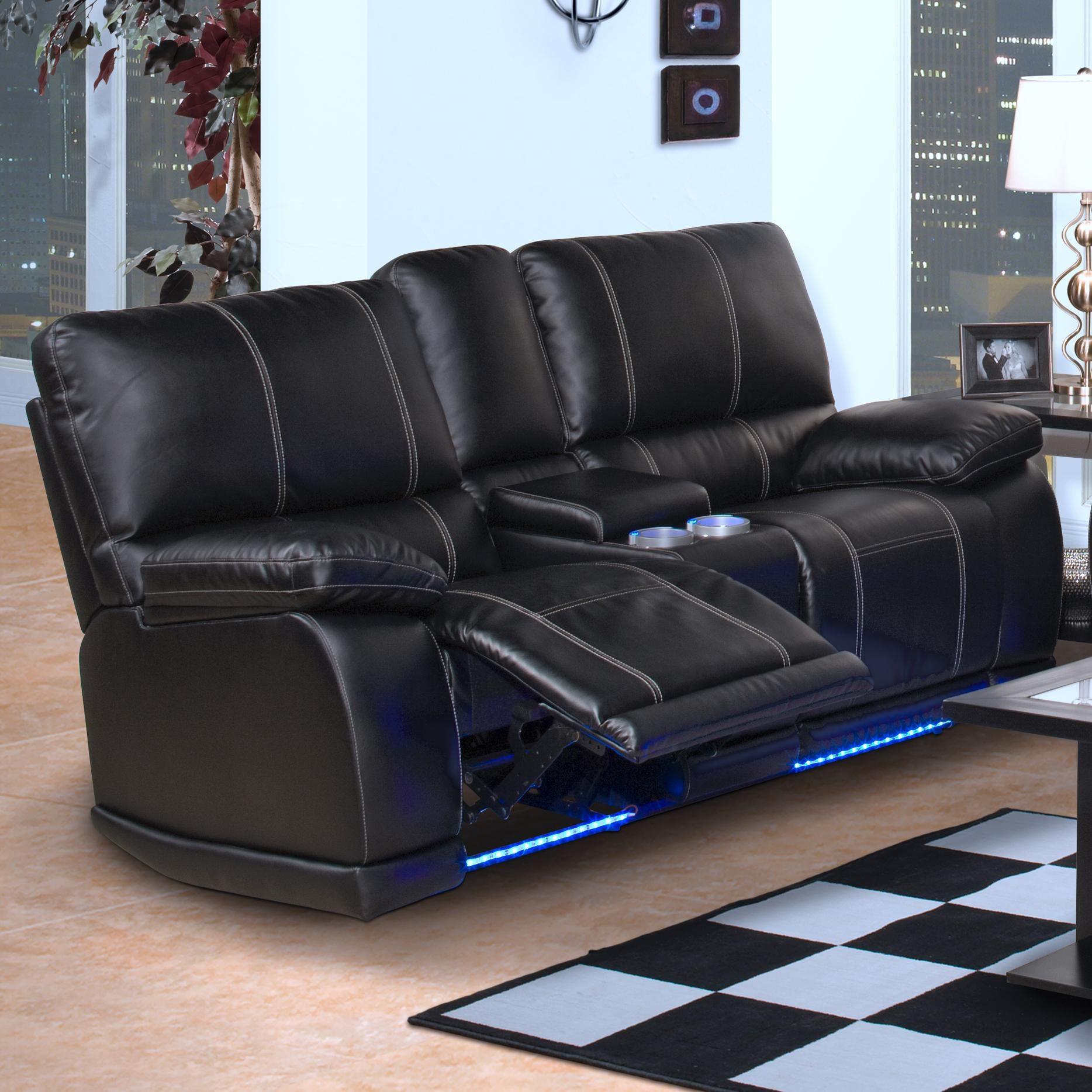 New Classic Electra Contemporary Dual Recliner Console Loveseat with Cup Holders and Storage ...