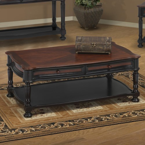 New Classic Jamaica Two Tone Cocktail Table With 2 Drawers And Display Shelf Ivan Smith