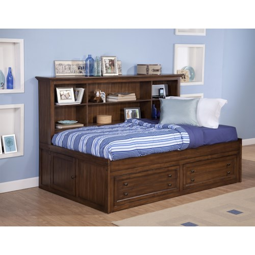 Twin size storage daybed with bookcase headboard logan for Classic house day bed