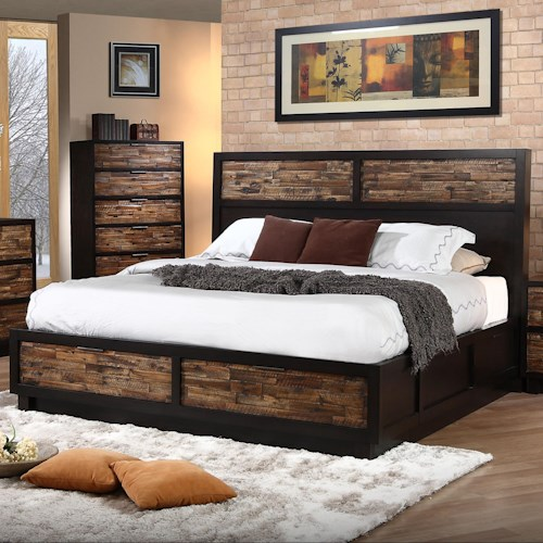 New Classic Makeeda California King Low Profile Bed With Footboard Storage Beck S Furniture