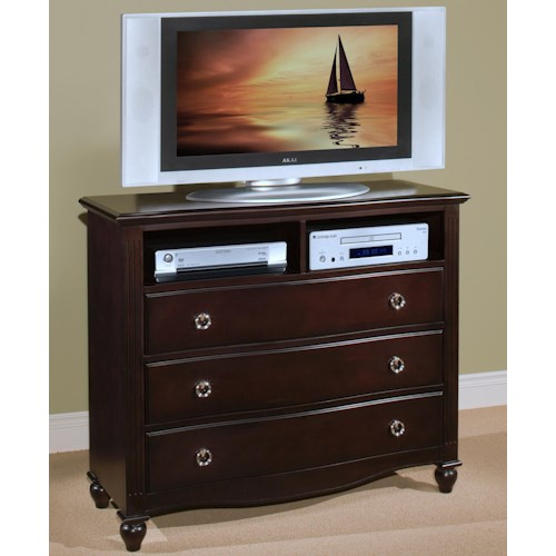 New classic victoria three drawer bedroom media chest for Bedroom media chest