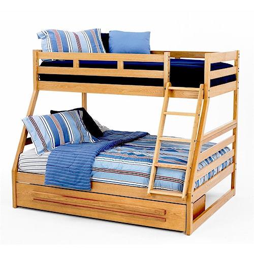 New classic casual oak youth twin full oak bunk bed beck - Bedroom furniture little rock ar ...