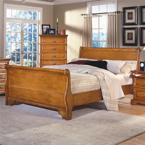 Queen Oak Sleigh Bed Honey Creek By New Classic Wilcox Furniture Sleigh Bed Corpus Christi
