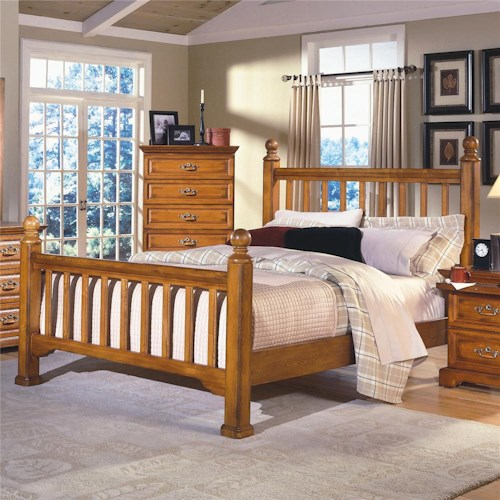 New Classic Honey Creek Queen Slat Poster Bed Dunk Bright Furniture Headboard Footboard