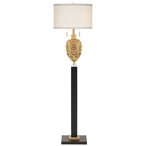 Pacific coast lighting floor lamps gold and black for Traditional gold floor lamp