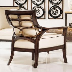 Palecek Accent Chairs by Palecek Transitional Rattan Lounge Chair with Decora