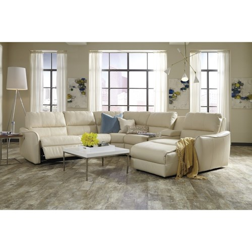 Palliser Arlo Contemporary Sectional Sofa With Chaise And