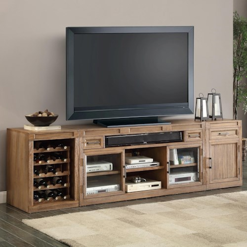 Parker House Hickory Creek 3 Piece Tv Console With Wine Rack Storage J J Furniture Tv