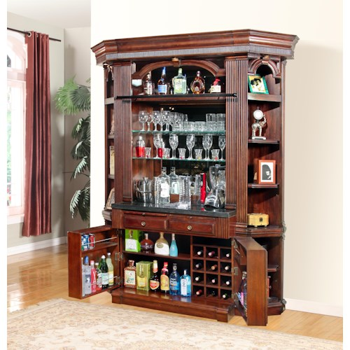 Parker House Wellington 4 Piece Bar Base And Hutch Beck 39 S Furniture Bar Bar Cabinet
