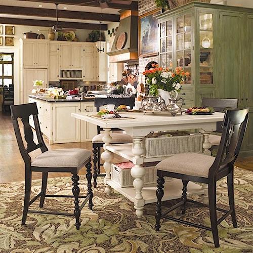 Paula Deen By Universal Paula Deen Home Gathering Table Set W 4 Counter Chai