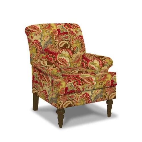 Paula Deen By Craftmaster Upholstered Chairs Traditional Chair With English Arms And Turned Legs