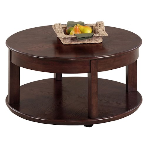 Progressive furniture sebring p543 48 castered round for Double round coffee table