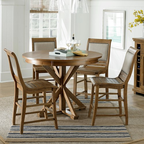 dining 5 piece round counter height table set with uph counter chairs