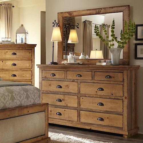 Distressed Pine Drawer Dresser Mirror Willow By Progressive Furniture Wilcox Furniture