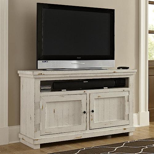 Progressive Furniture Willow Small 54 Distressed Pine Media Console Boulevard Home