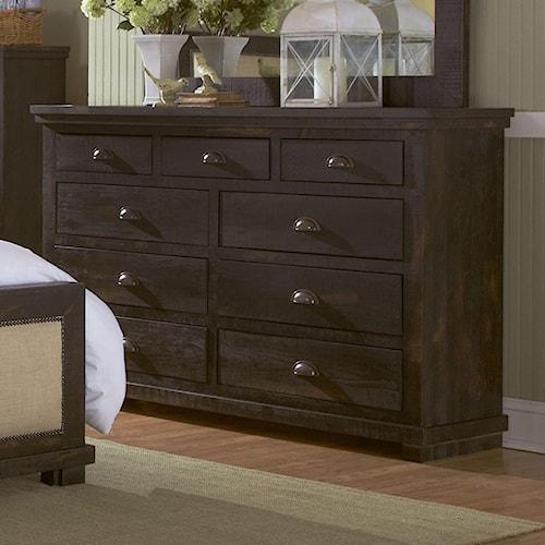 Progressive furniture willow distressed pine drawer dresser boulevard home furnishings dressers for Distressed pine bedroom furniture