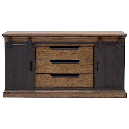 pulaski furniture weston loft buffet with 2 sliding barn. Black Bedroom Furniture Sets. Home Design Ideas