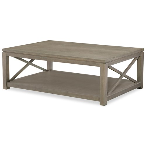 Rachael Ray Home High Line Rectangular Cocktail Table With Shelf J J Furniture Cocktail