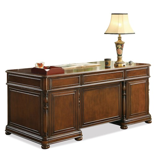 Riverside furniture bristol court executive desk hudson 39 s furniture double pedestal desk - Home office furniture tampa ...