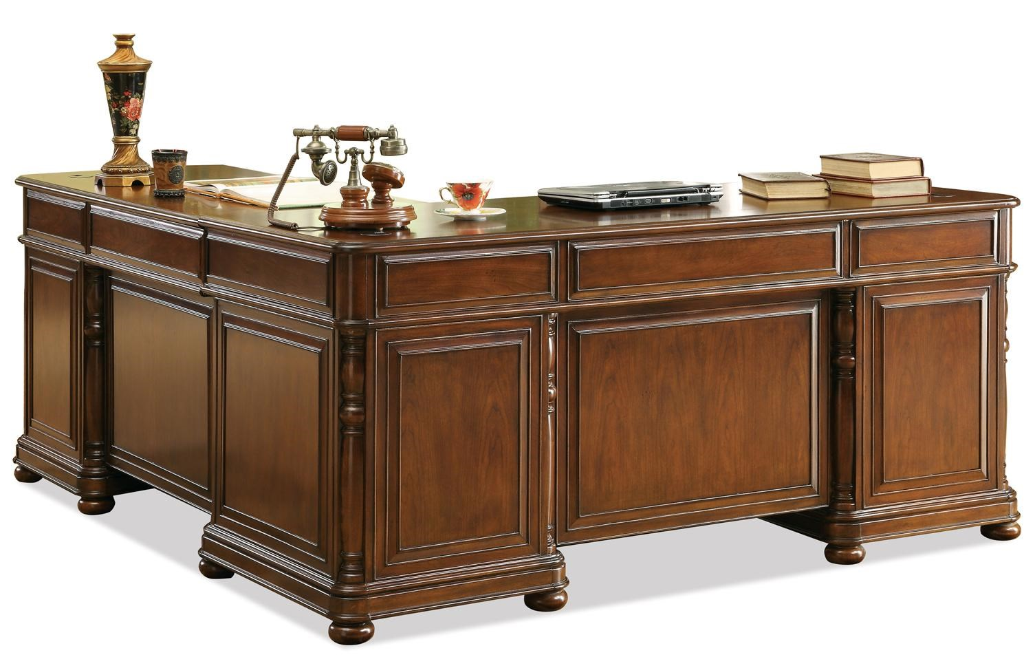 riverside furniture bristol court large cherry l desk and