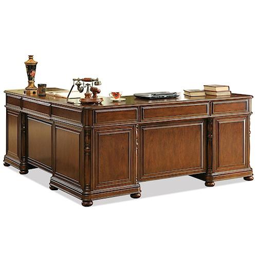 Riverside furniture bristol court large cherry l desk and return value city furniture l - Value city office desk ...