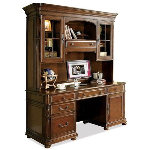 Riverside furniture bristol court computer credenza and hutch hudson 39 s furniture desk - Home office furniture tampa ...