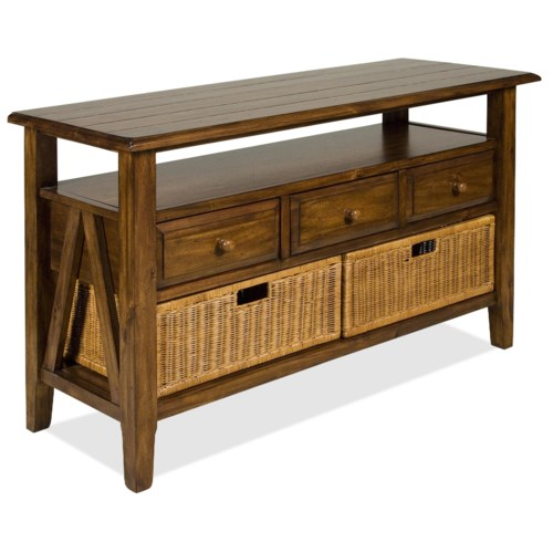 riverside furniture claremont 3 drawer console table with